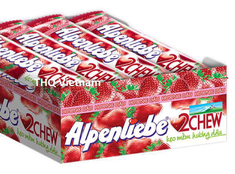 Alpenliebe 2 Chew Soft Fruit Candy Strawberry  16 rolls x 24 boxes
