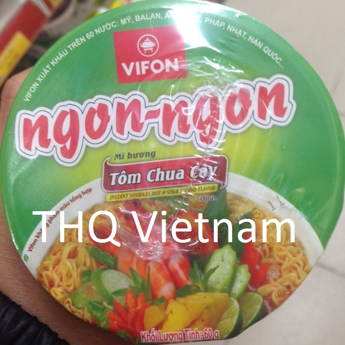 Vifon Ngon Ngon Instant Noodles Hot & Sour Shrimp Flavour 60g (cup)