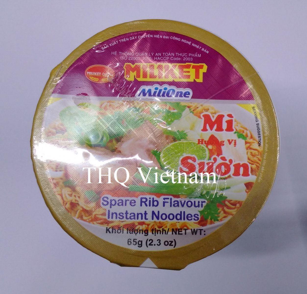 Miliket Instant Noodle Spare Rib Flavour 65gr x 24 cup