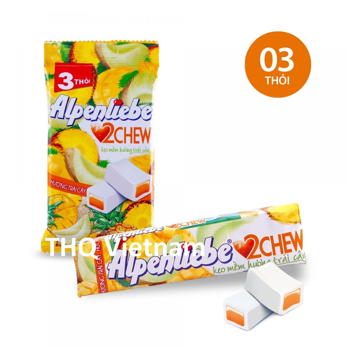 Alpenliebe 2 Chew Soft Fruit Candy 24.5 gram x 3 rolls
