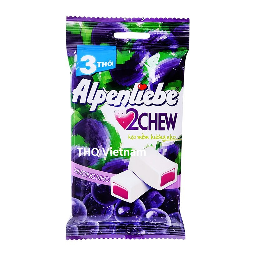Alpenliebe 2 Chew Soft Fruit Candy Strawberry & Grapes 24.5 gram x 3 rolls