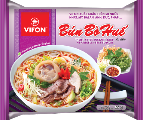 Vifon Hue style instant rice vermicelli beef flavor 65gr