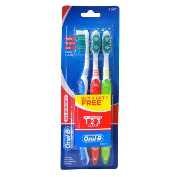 Oral B All Rounder 1-2-3 toothbrush pack of 3 pcs