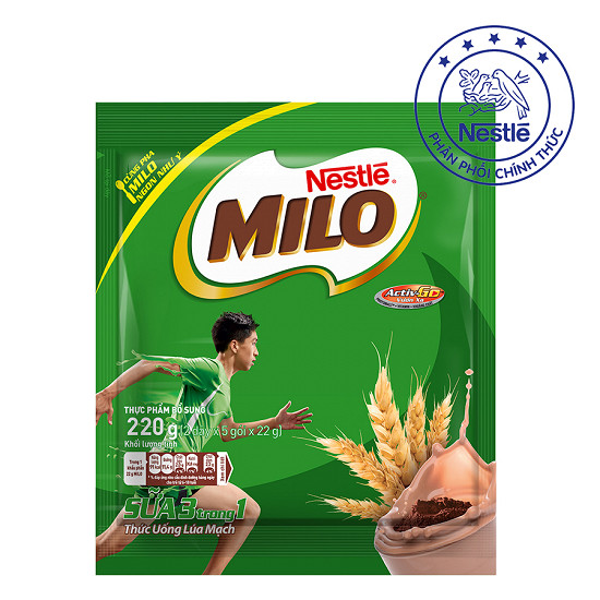 Milo 3 in 1 pack of 220gram ( 2 lines x 5 sachets x 22 gram)