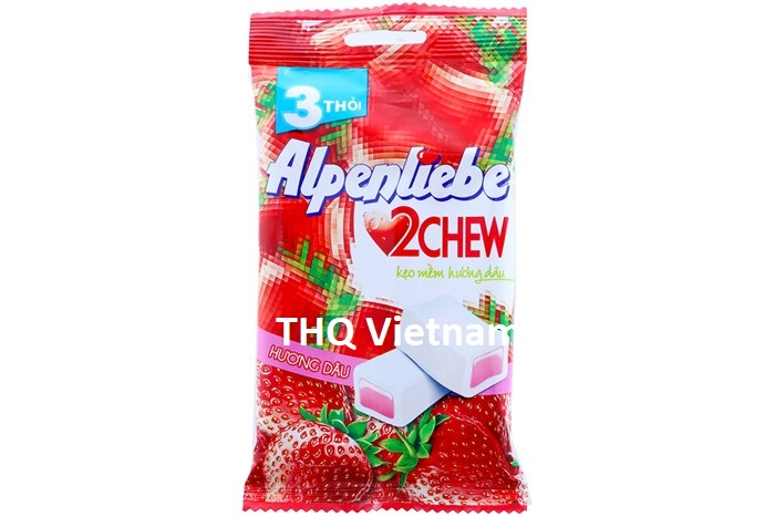 Alpenliebe 2 Chew Soft Fruit Candy Strawberry 24.5 gram x 3 rolls