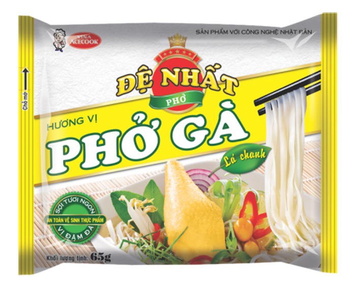 De Nhat rice noodle chicken flavor  with lemon leaf 65gr